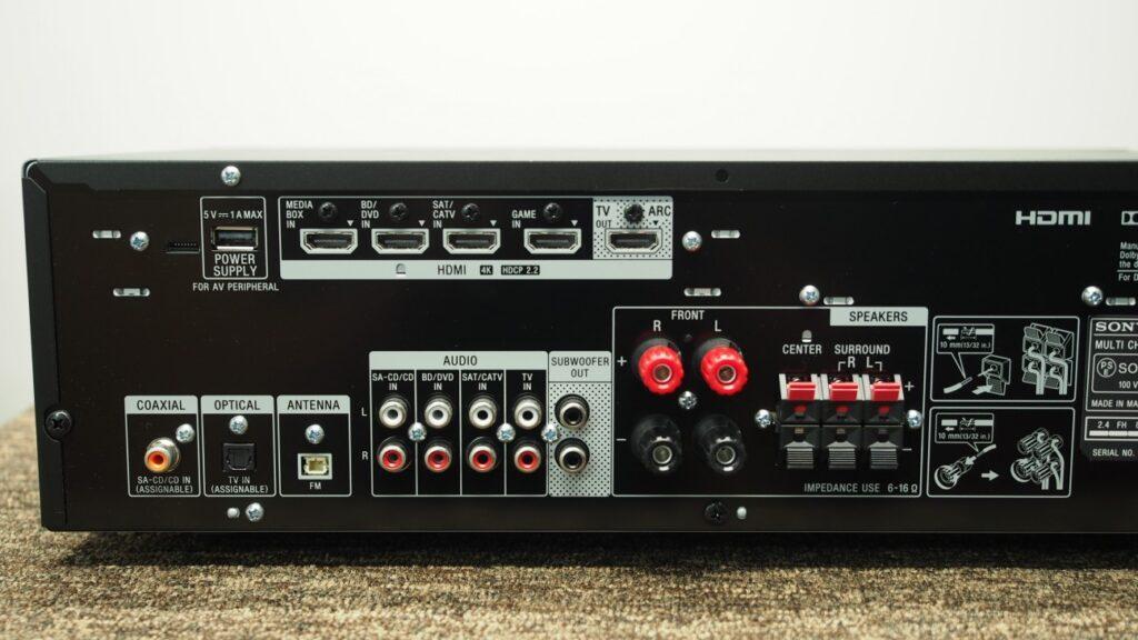 Lato posteriore del sintoamplificatore AV Sony