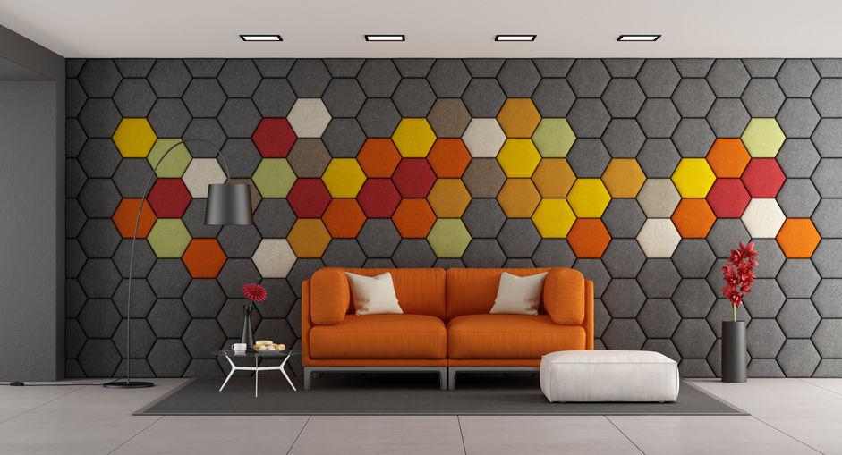 Pannelli acustici esagonali modellati sulla parete