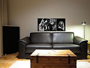 pannello acustico stampato sul divano